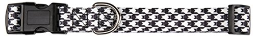 East Side Collection Houndstooth Bat Collar for Pets, 6 to 10-Inch, White