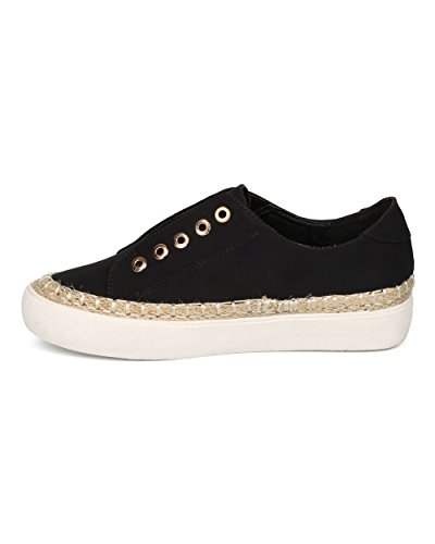 Sneaker Da Donna In Lino Con Espadrillas In Similpelle - Casual, Lounging, Scuola - Sneaker Senza Pizzo - Gd97 By Black