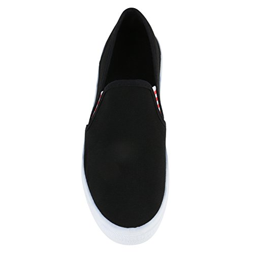 Stiefelparadies Damen Sneaker Slip Ons mit Plateau Glitzer Flandell Schwarz Weiss