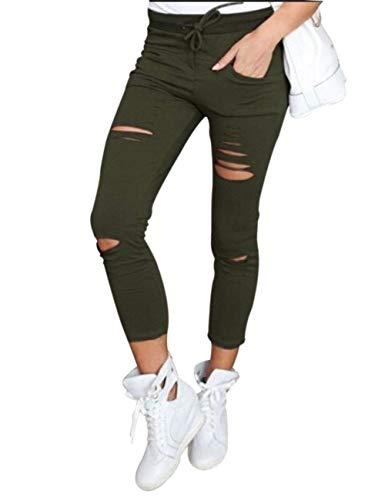 Frontali Con A Saoye Fashion Holes Jeans Donna Giovane Skinny Stretch Alta Vita Pantaloni Coulisse Tasche Grün Matita 06q0wgP