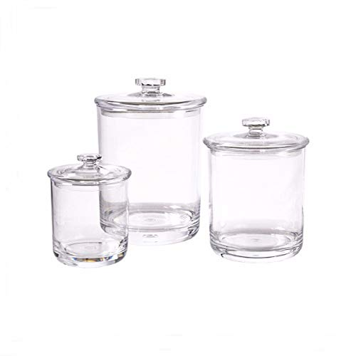 IS Enterprises Set of 3 Apothecary – Acrylic Jars – Plastic Jars – Great Home Decor Pieces – Apothecary Jars Large – Apothecary Jars for Bathroom – Bath Salts – Cosmetic Pads – Bath Bomb jar