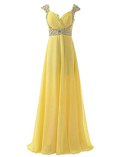 Aiyue Yishen A-line Long Formal Prom Gown Sweetheart Neck Beading Crystal Chiffon Evening Dress Yellow (Neck Sweetheart Chiffon Beading)