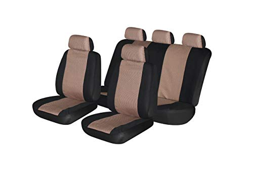 (Autonise Universal fit Classic Sport Bucket seat Cover (Fit Most Car,Truck, SUV, or Van with headrest) Airbag Compatible (Jacquard Beige, Full Set))
