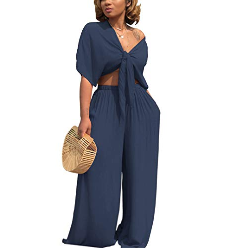 Ophestin Women 2 Piece Outfits Tie Knot Crop Top Wide Leg Floor Length Pants Set Navy Blue Size XL