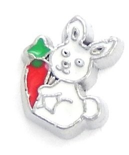 (Cherityne Easter Rabbit/Bunny with Red Carrot Floating Charm for Locket Pendants)