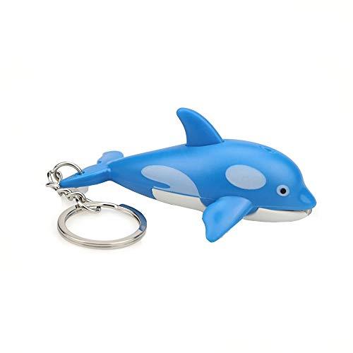 - Sikye Mini Dolphin Flashlight Keychain LED White Light Keyring with Sound Cute Animal Keyfob (Blue)