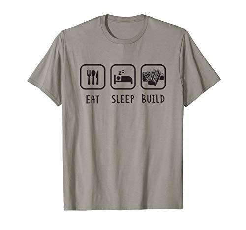 Eat Sleep Build Brick Toy Building Fest T-Shirt (Lego Bricks & More Building Plate 628)