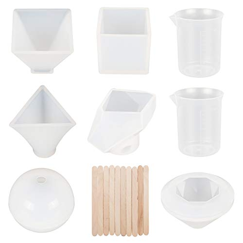 Houseables Silicone Resin Mold, Art Casting Supplies, Various Sizes, 8 Molds, Clear, Craft Kit, Pyramid, Diamond, Sphere, Stone, Cube, Measuring Cups, For Epoxy, Polyester, Paperweight, Bath Bomb, Wax
