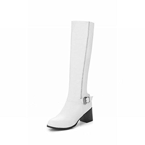 Mee Shoes Damen runde chunky heels langschaft Reißverschluss Stiefel Weiß