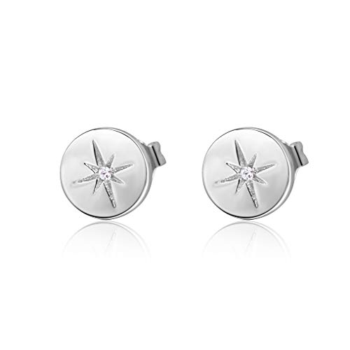 S.Leaf Minimalist Circle Hexagram Star Earrings Round Disc Stud Earrings for Woman (silver)