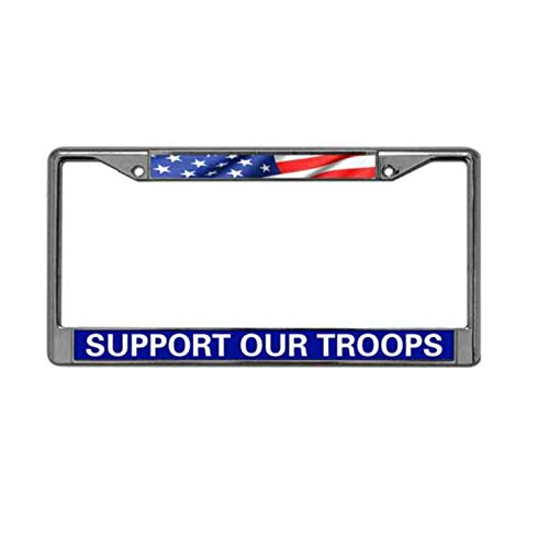 (American Flag Metal Chrome Auto License Plate Cover,Support Our Troops License Plate Frame Chrome 2 Holes Funny Metal License Plate Frame Tag Holder with Screw)