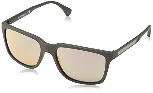 Emporio Armani EA 4047 Men's Sunglasses Grey / Brown Rubber - Glasses Armani Giorgio Optical