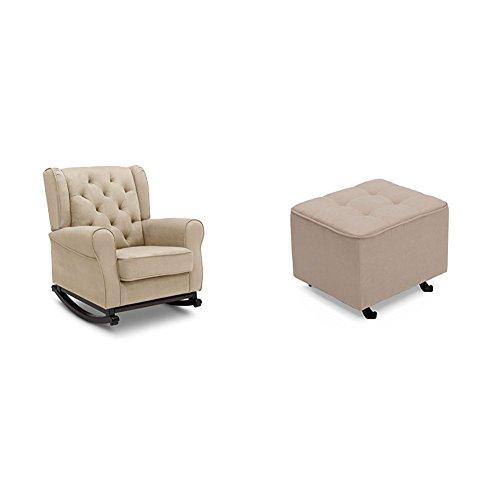 Gliding Rocker Ottoman (Delta Furniture Emma Rocking Chair with Tufted Gliding Ottoman, Ecru)