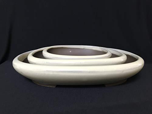 (Kotobuki Japanese Glazed Bonsai Oval Pot : 1set/3pcs #33-16)