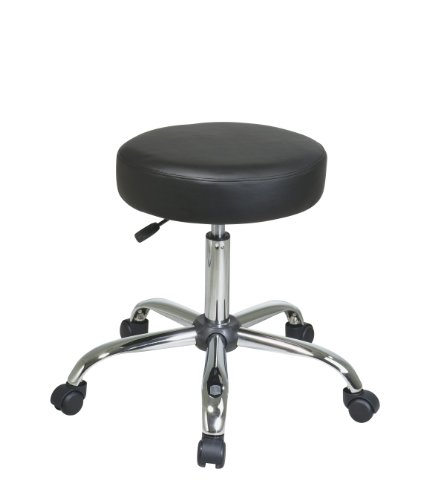 Office Star Backless Stool with Chrome Finish Base, Black Dillon Fabric