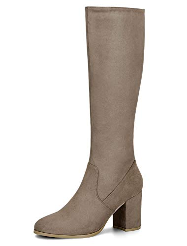 (Allegra K Women's Side Zip Chunky Heel Taupe Knee High Boots Christmas Boots - 7 M US)