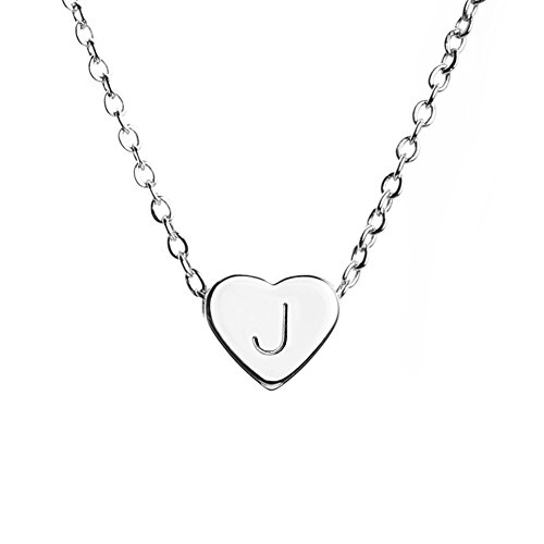 Silver Heart Necklace Initial Necklace Mother's Day Gift Bridesmaid Gift Graduation Gift for Her (J) - FHN