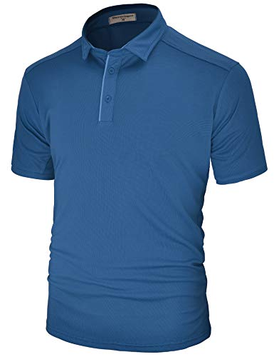 Derminpro Men's Regular Fit Polo Shirt Short Sleeve Soft Quick-Dry Breathable Athletic T-Shirts Sapphire X-Large (Cool Dry Polo)