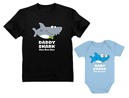 Baby Shark Bodysuit & Daddy Shark T-Shirt Doo Doo Doo Funny Set Newborn & Dad Daddy Black Large/Baby Aqua 18M (12-18M)