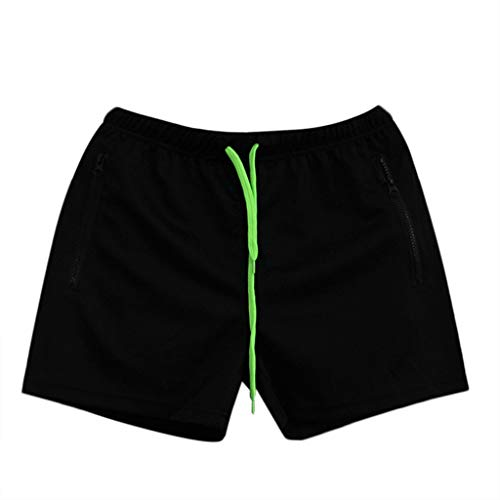 Wobuoke Fashion Men's Linen Casual Classic Fit Short Swimming Sport Beach Quick-Drying Solid Color Short Trouser Shorts Pants Black by Wobuoke_Men shorts (Image #1)