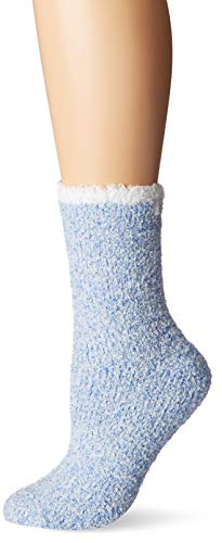 Karen Neuburger Women's Super Soft Cozy Fluffy Warm Lounge Chenille Sock, sky blue with pearl tip, One size fits all