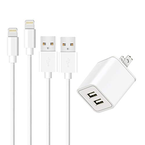 USB Charger Compatible iPhone,YIQOSKING (2-Pack) 6ft Charger Wire Data Sync Charging Cable with 2 Port Plug Travel Wall Charger Compatible iPhone X/8/8 Plus/7/7 Plus/6/6S/6 Plus/5S/SE/XR/XS Max