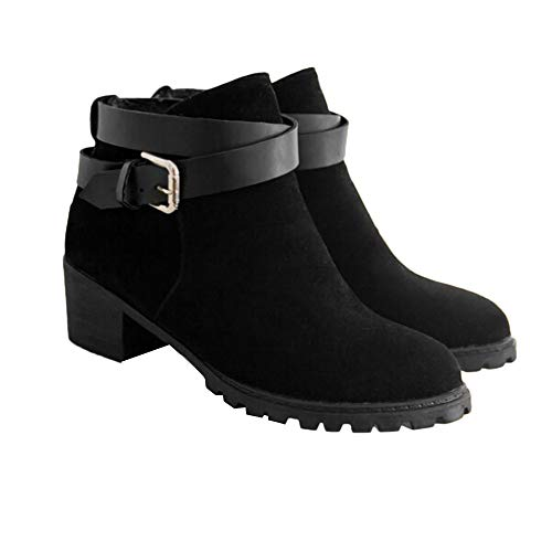 Fashion Women's Short Ankle Boots Middle Heel Winter Roman Shoes Fitfulvan(Black,6.5)