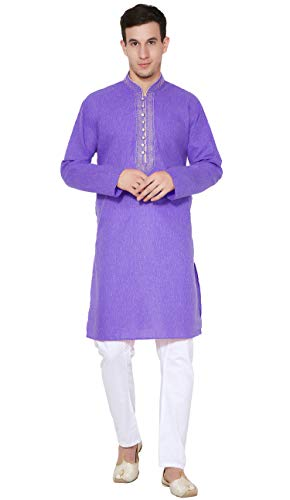 SKAVIJ Men's Tunic Cotton Kurta Pajama Set Casual Dress (Large, Blue)
