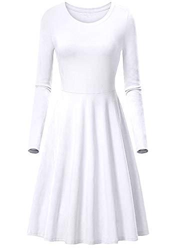BOFETA Womens Long Sleeve Solid Midi Dress Scoop Neck High Waist Swing Dress