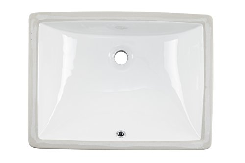 1813CBW 18 x 13 White Rectangular Porcelain Undermount Lavatory Bathroom Sink