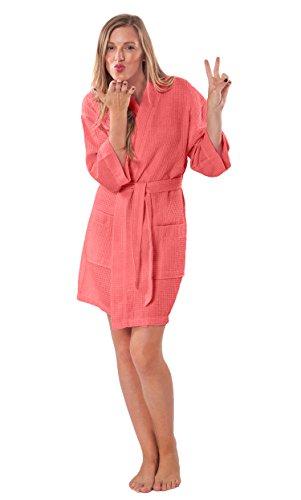 (Turquaz Linen Personalized Embroidered Lightweight Knee Length Waffle Kimono Bridesmaids Spa)