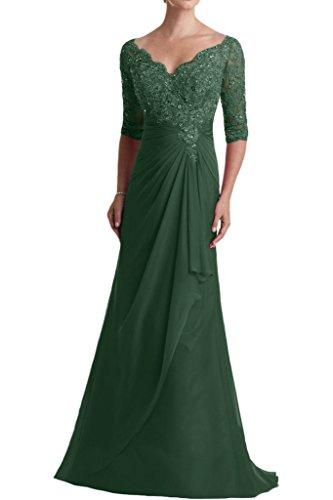 Promkleider Abendkleider Abiballkleider V mia mit Langarm Gruen Spitze Braut Dunkel Ballkleider Ausschnitt Blau La Dunkel Glamour pPqdvw8PYx
