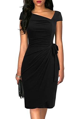 Liyinxi Classic Short Sleeves Sheath Bodycon Knee Length Belted Slim Business Tie Waist Ruched Black Pencil Dress (M, 8022-Black)