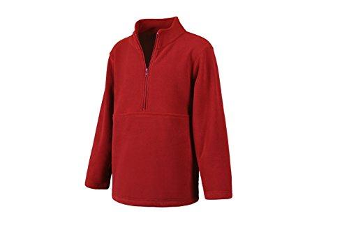 Pullover Jacket Zip Half (Classroom Big Kids Unisex Half-Zip Polar Fleece Pullover, Red, L)