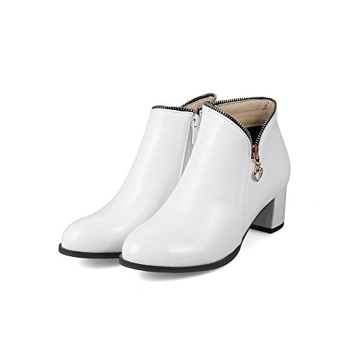 VogueZone009 Damen Reißverschluss Mittler Absatz Kurz Velours Rein Rund Zehe Stiefel Weiß
