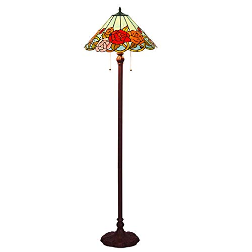 DSHBB Floor Lights, 18 inch Tiffany Style Floor lamp with Stained Glass Rose lampshade, Contemporary Bright Reading Lamp for Living Room, Office, E27 40W (Light Pendant Rose Glass)