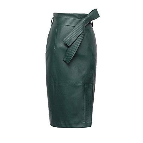KoHuiJoo Plus Size Leather Skirt Women Sexy High Waist Ladies Faux Pu Pencil Skirts