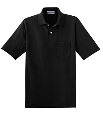 Jerzees Adult Jersey Pocket Polo with SpotShield - Black - S