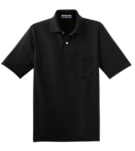 Jerzees 5.6ml, 50/50jersey Pocket polo with Spotshield Black Large