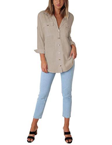 Blouse Top Longues Chemisier Col Laden Femme Chic Lin Femme Uni Chemisier T Kaki Bouton Manches V Bequemer Classique Shirt ATaq4I