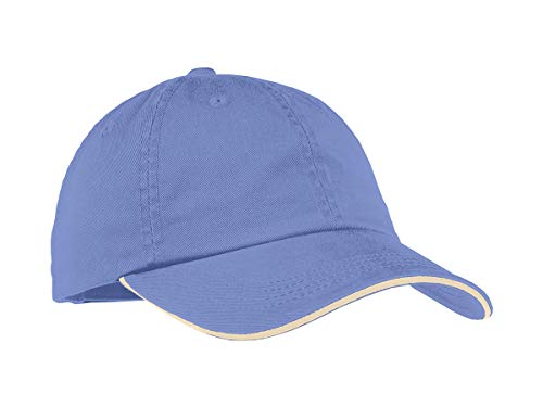 (TOP HEADWEAR Ladies Sandwich Bill Cap w/Striped Closure - Blue Iris/Stone)