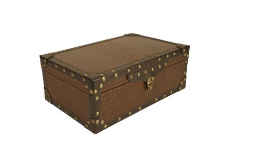wald-imports-brown-beige-faux-leather-decorative-suitcase-chest-trunk