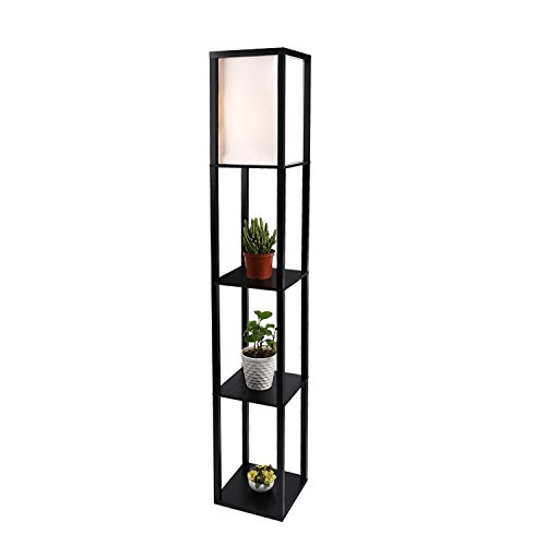 Shelf Floor Lamp with White Shade, 63 Inch Height, Black