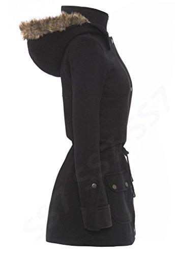 transport rouge noir 16 over Noir parka SS7 8 taille Pull pour Femmes Manteau xtnSqYA04w