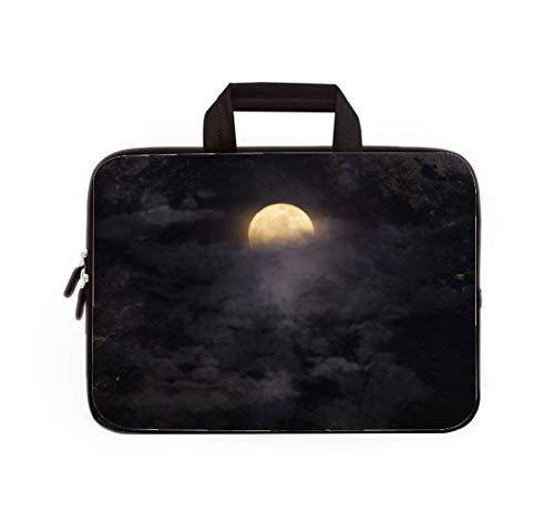 Double Zipper Laptop Bag,Abstract Night Sky with Full Moon for Halloween Background,14 inch Canvas Waterproof Laptop Shoulder Bag Compatible with 14