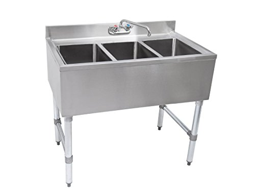 Series Underbar Sink - John Boos EUB3S40SL Slim-Line 18 Gauge 300 Series 3 Compartment Underbar Sink, 40
