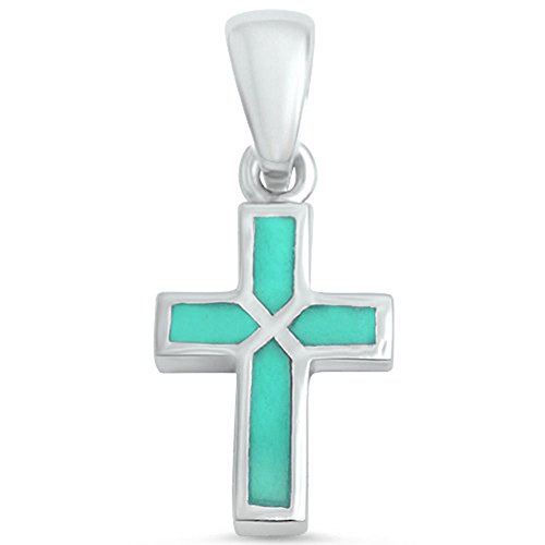 Cross Pendant Petite Cross Charm 925 Sterling Silver Simulated Blue Turquoise Gemstone (20mm) (Sterling Charm Turquoise Silver)