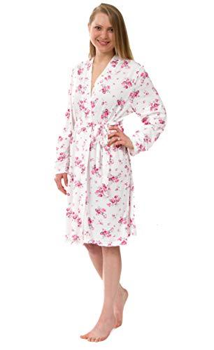Leisureland Women's Knit Robe, Jersey Robe, Stretch Jersey Robes (Women S/M, Floral #1)