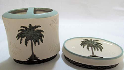 Palm Tropical Soap Dish - Bermuda Palm 2 Piece Bath Set Soap Dish & Toothbrush Holder