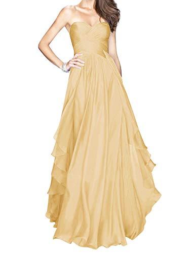 Delle Innamorato Promenade Sposa Increspato Da D'onore Bess Damigella Vestito Dell'oro Lungo Donne Del Sexy Chiffon 11wqPHr